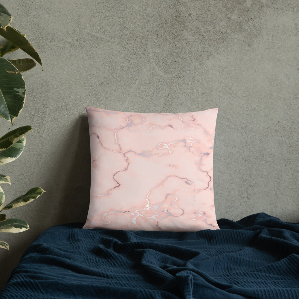 Coral Pearl Marble Throw Pillow