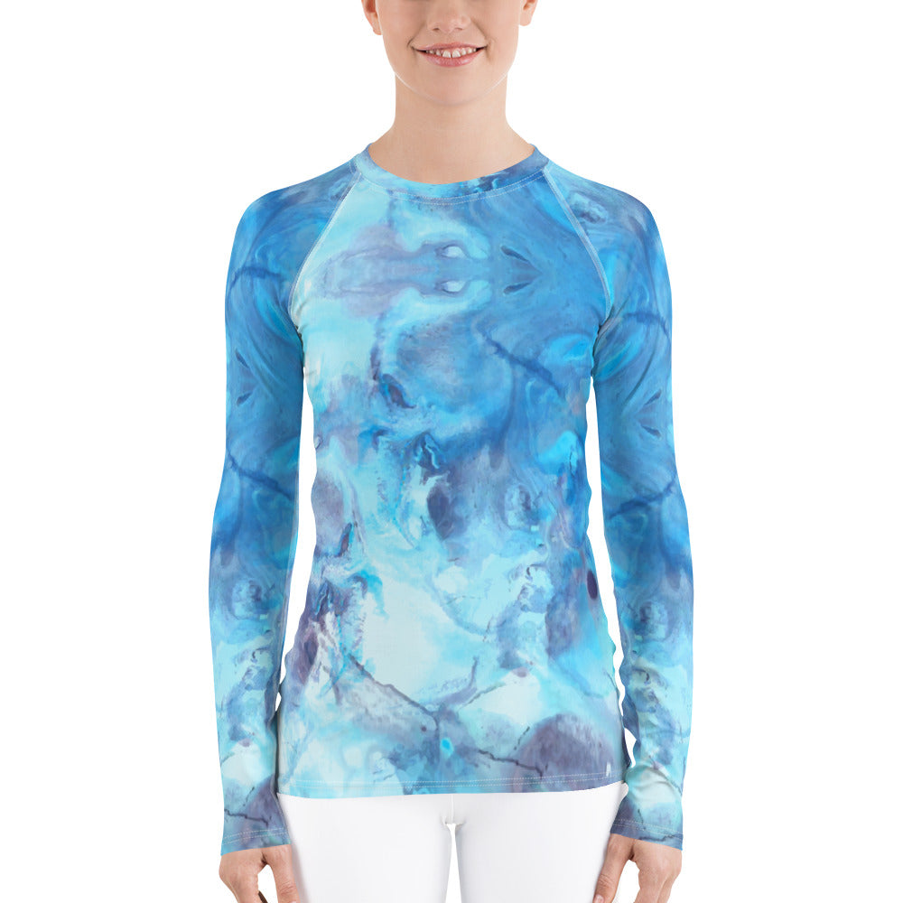 Ocean Blue Abstract Women's Rash Guard