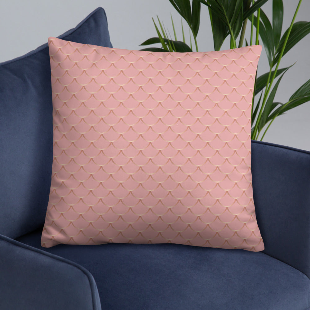 Rose and Gold Fish skin Throw Pillow
