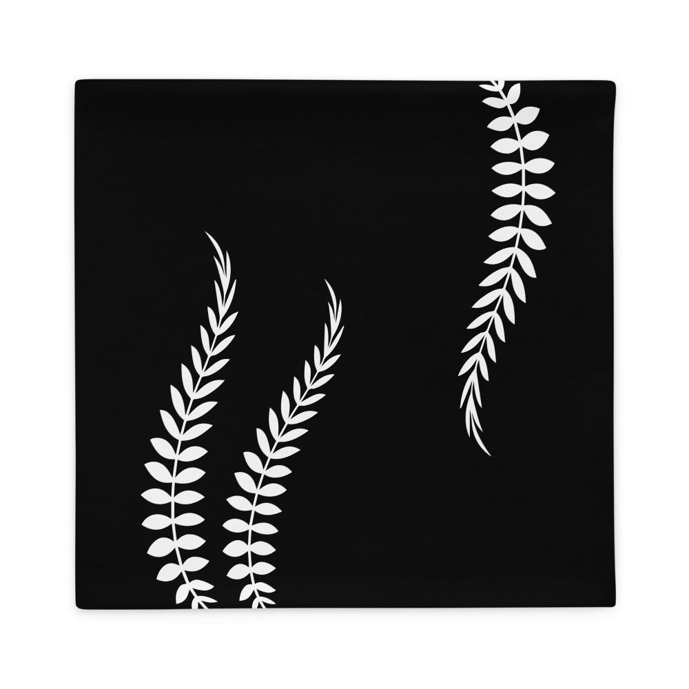 Black and White Floral Leaves Pillow Case