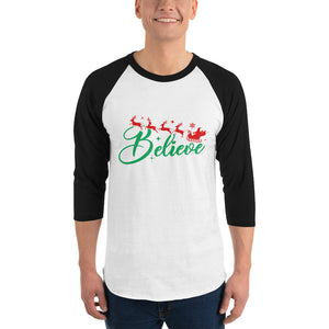 man wearing black and white 3 4 sleeve raglan t shirt with believe reindeer santa christmas graphics