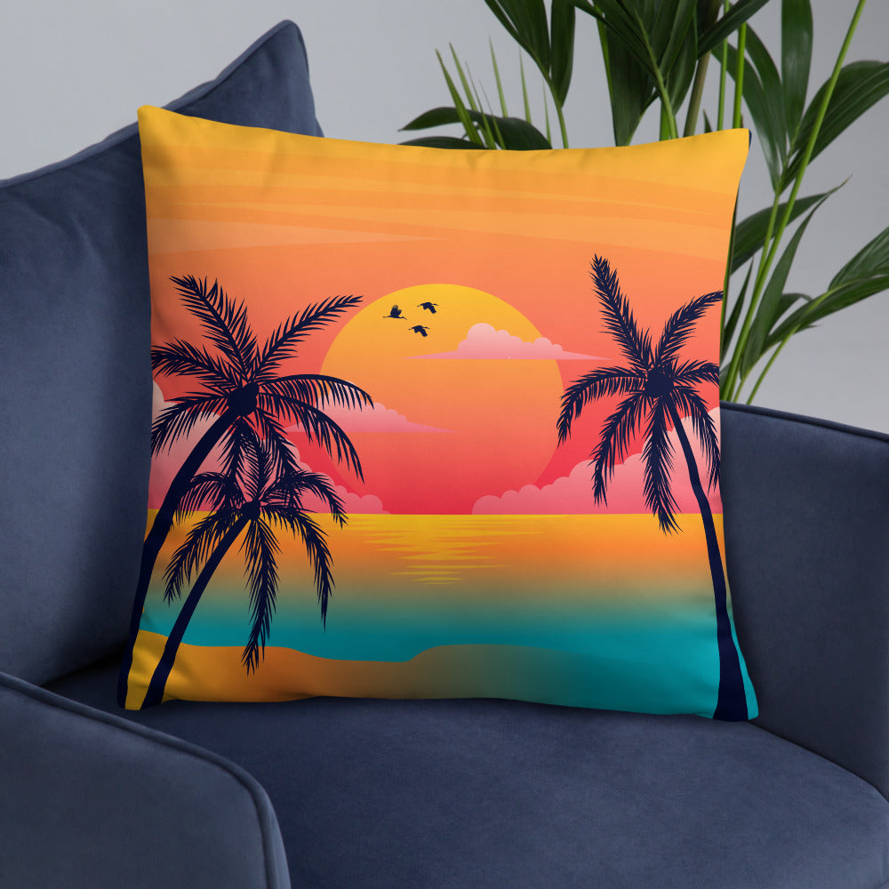 Tropical Beach Summer Sunshine Throw Pillow