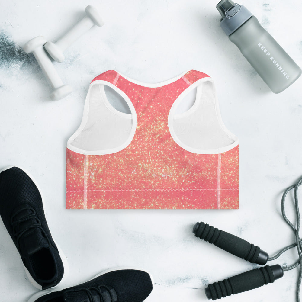 Peachy Pink and Gold Glittery Padded Sports Bra