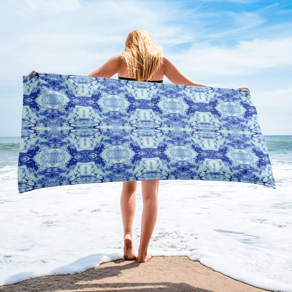 Blue and white Abstract Towel