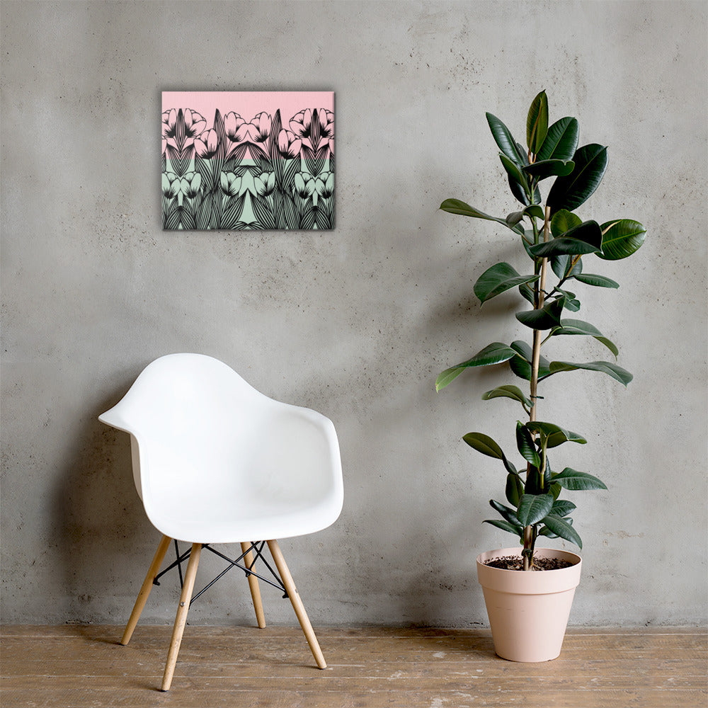 Mint and Pink Lotus Floral Canvas