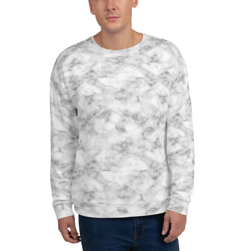 White and Gray Marble Pattern Sweatshirt for Men