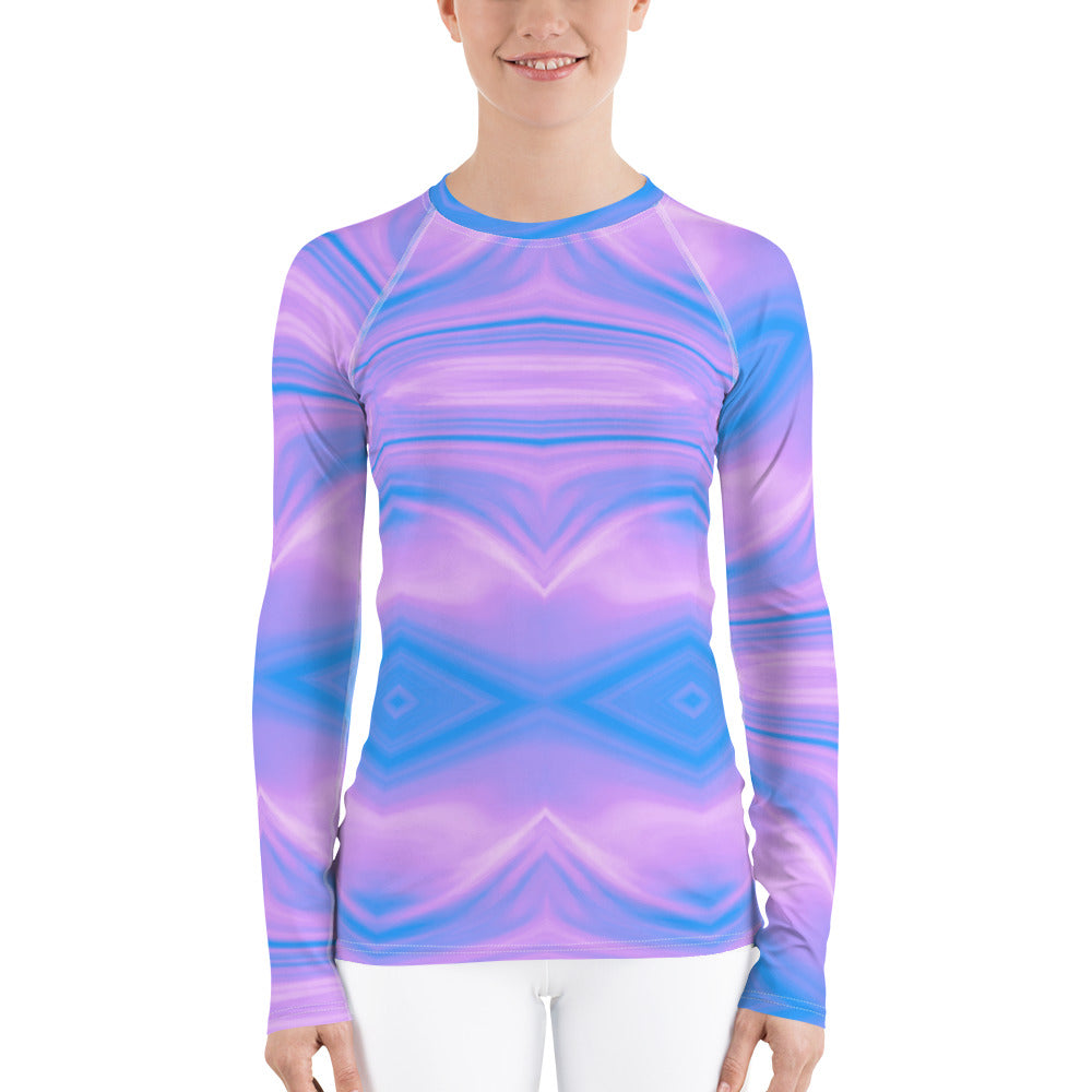 Purple and Blue Liquid Pattern Women's Rash Guard