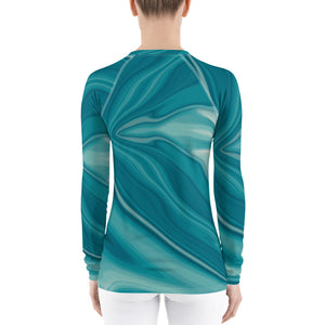 Teal and White Liquid Pattern Women's Rash Guard