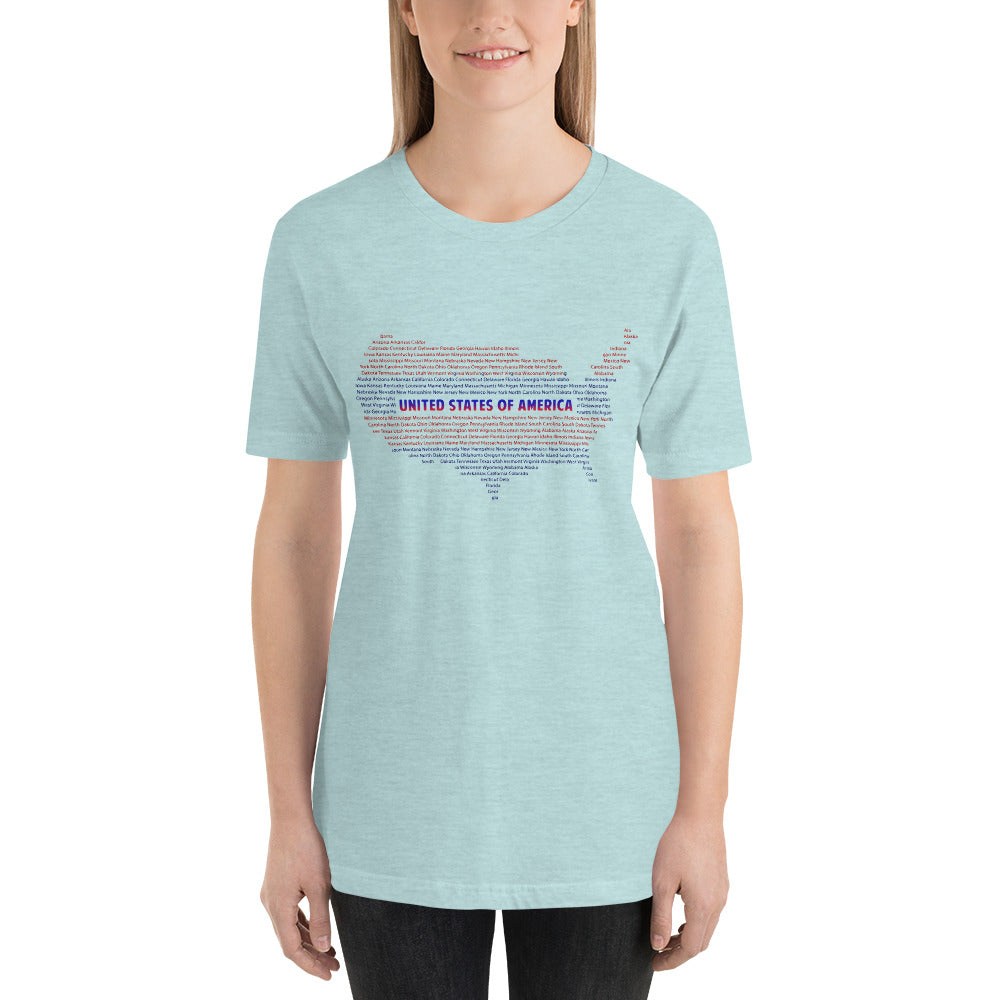 USA Map Typography T-Shirt for Women