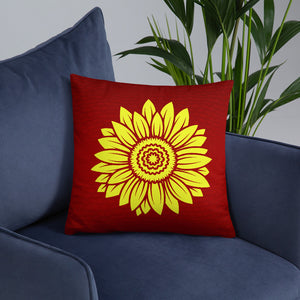 Sunflower Red Throw Pillows