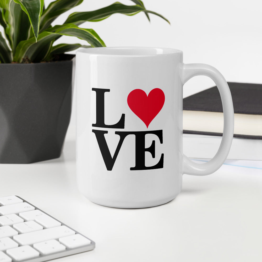 White Coffee Mug with Love Heart Print
