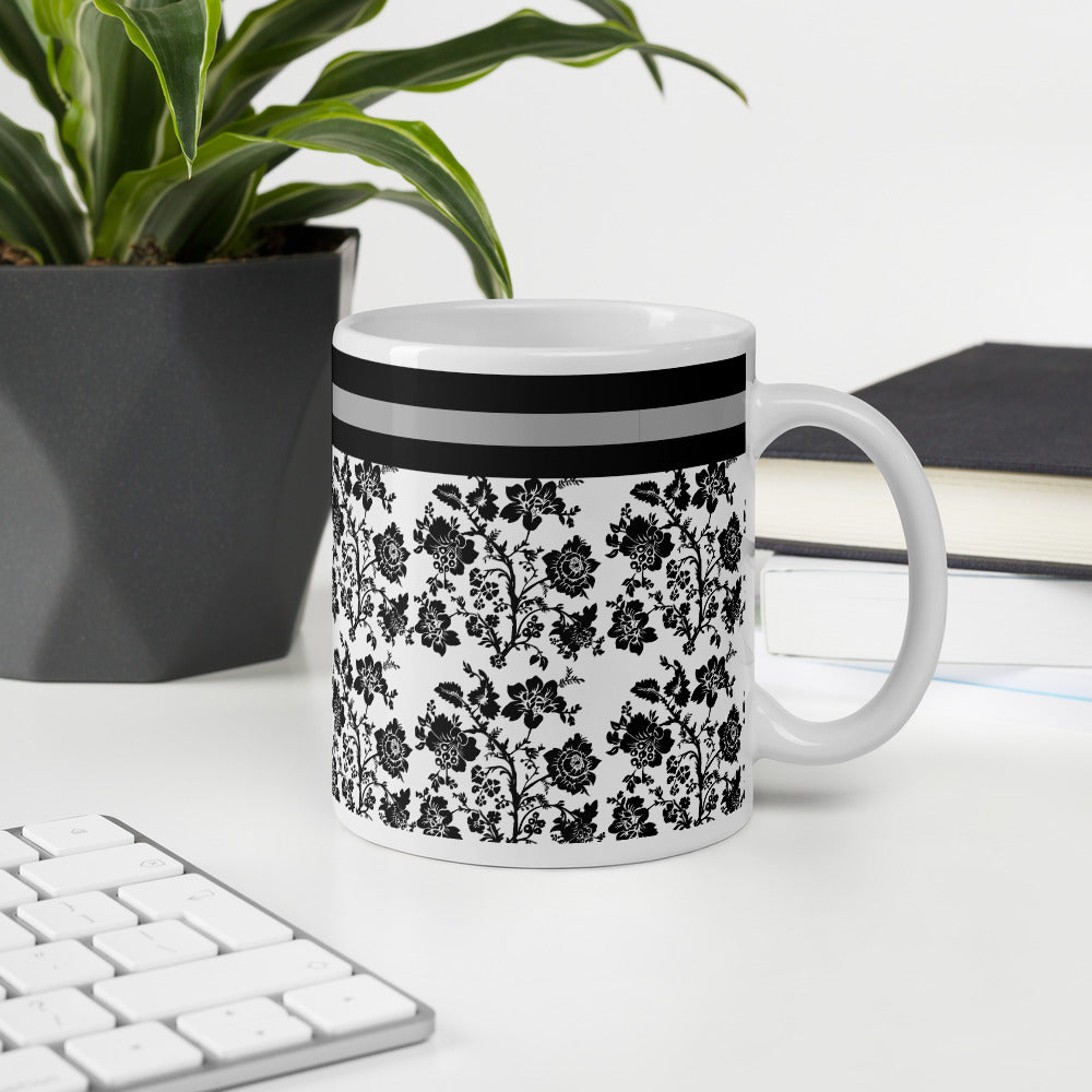 Black Gray White Floral Coffee Mug