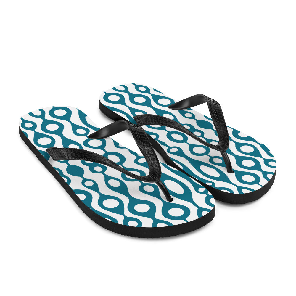 Teal and White Abstract Design Flip-Flops