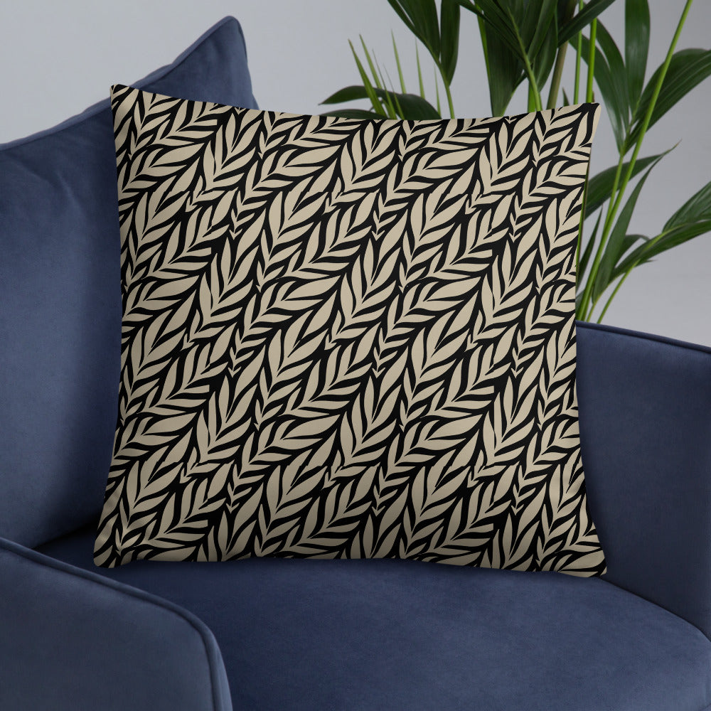 Tropical Leaves Black Throw Pillows