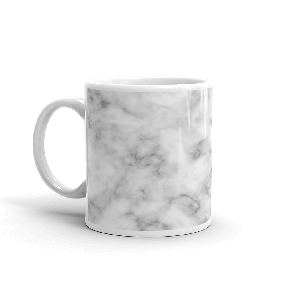 White and Silver Seamless Marble Pattern Coffee Mug | Mynkoo.com