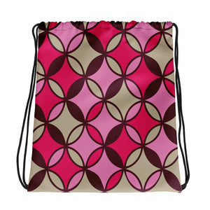 Pink and Brown Abstract Pattern Drawstring bag