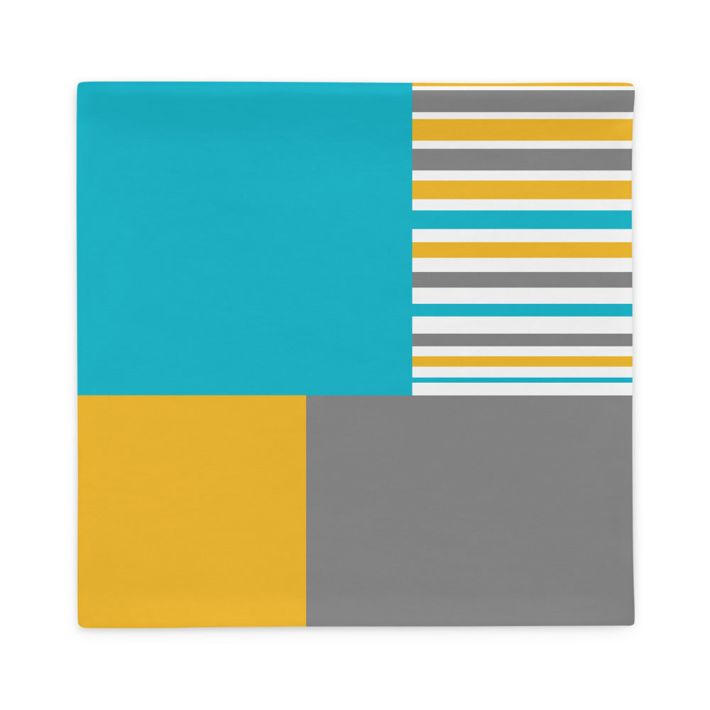 Blue Yellow Grey Striped Pillow Case