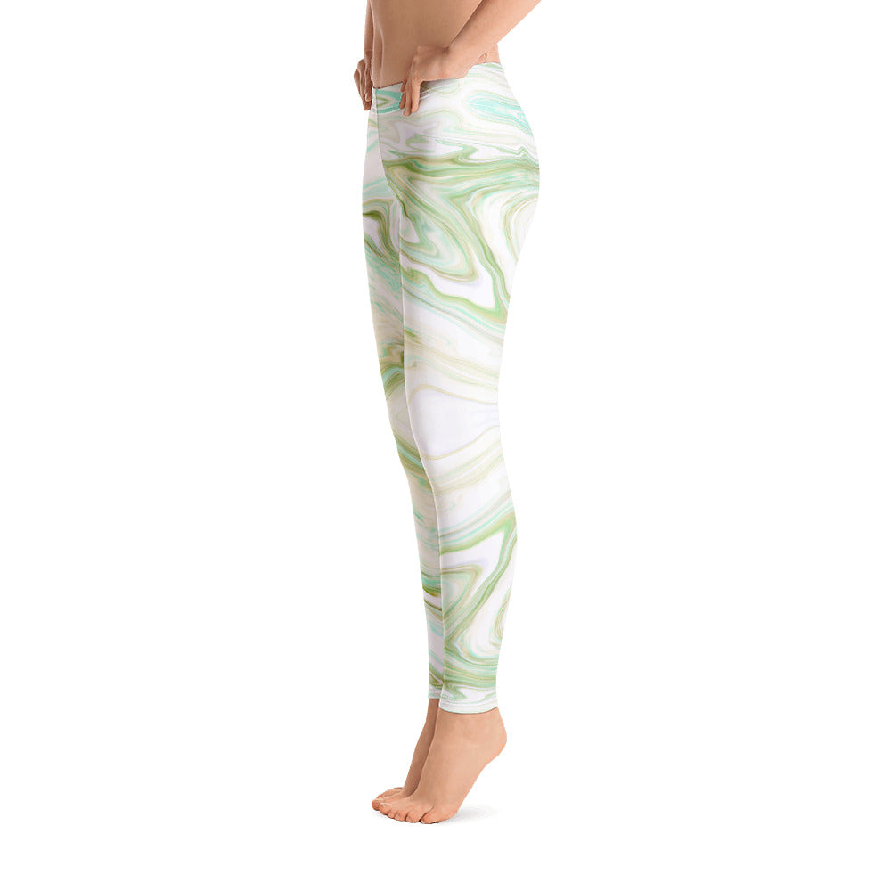 Green and White Marble Leggings Womens right
