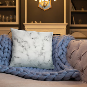 White and Silver Marble Texture Throw Pillows