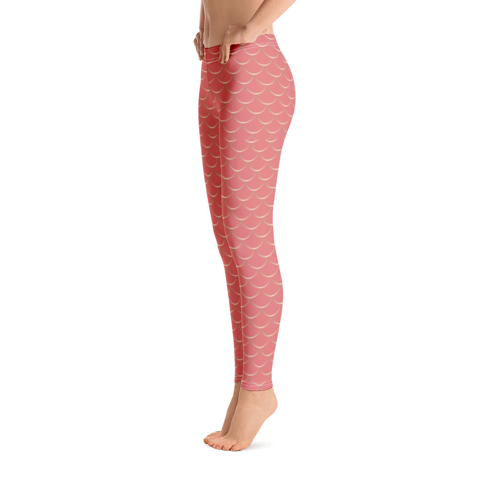 Coral Pink and Gold Fish Skin Leggings