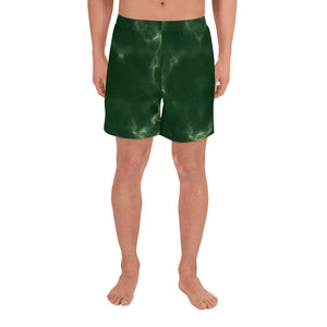 Dark Green Marble Men's Athletic Long Shorts