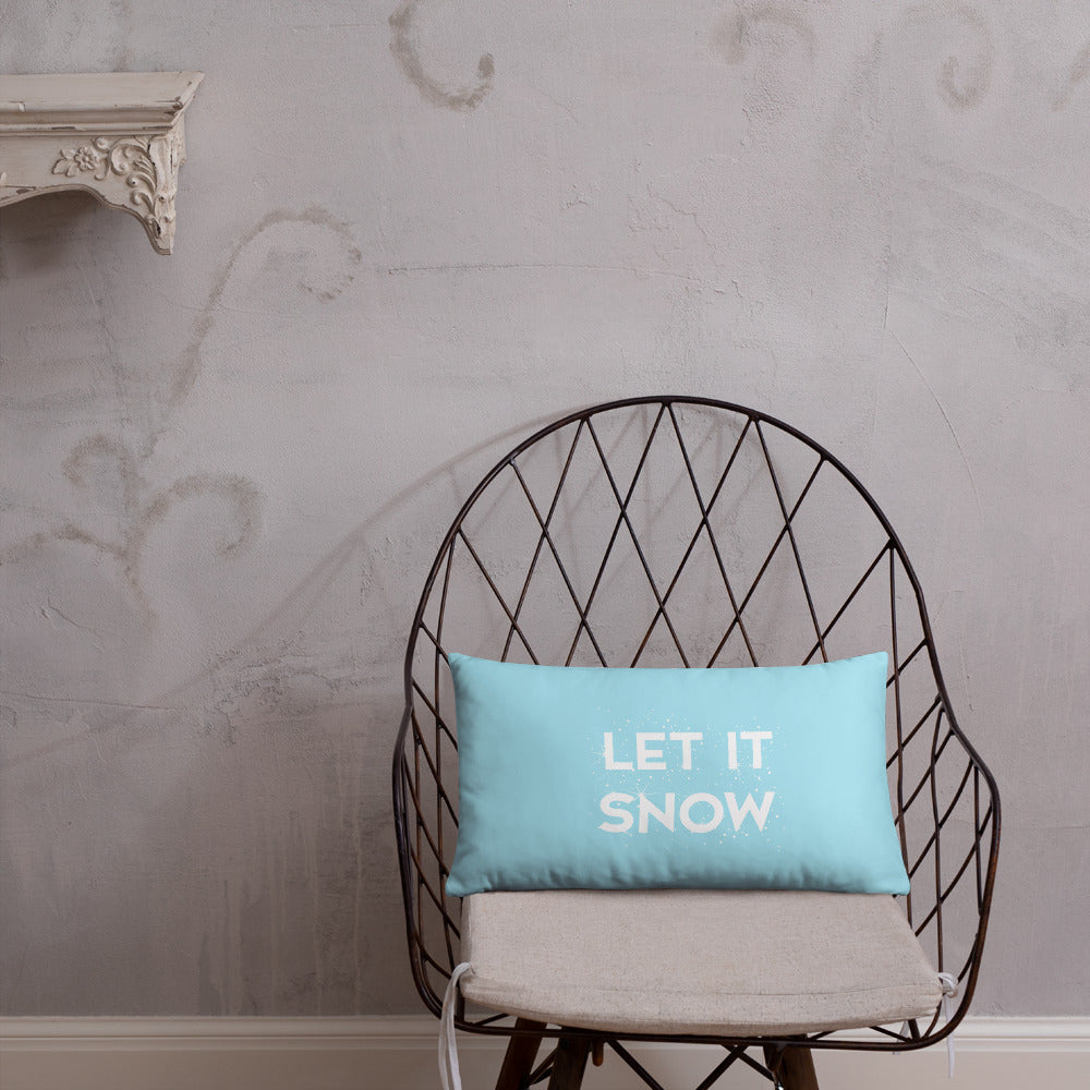 Let it Snow Ice Blue Throw Pillow