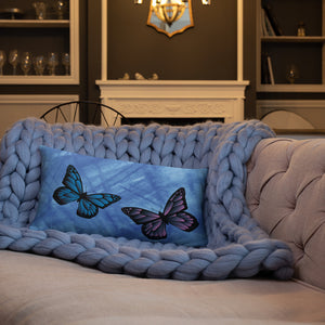 Blue Pink Butterfly Double-sided Throw Pillow