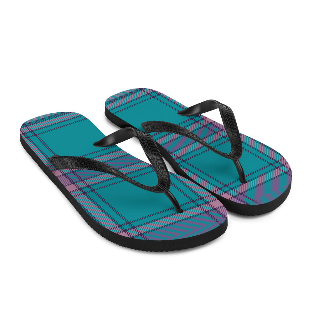 Teal and Purple Plaid Flip-Flops