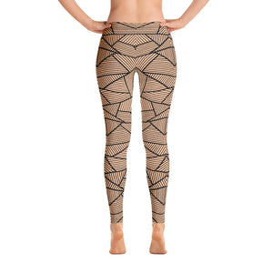 Black and Nude Geometric Leggings Womens Back