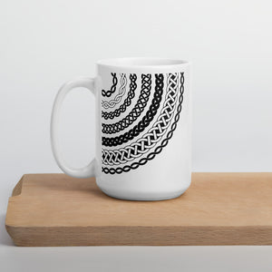 Black and White Coffee Mug with Celtic Knot Print