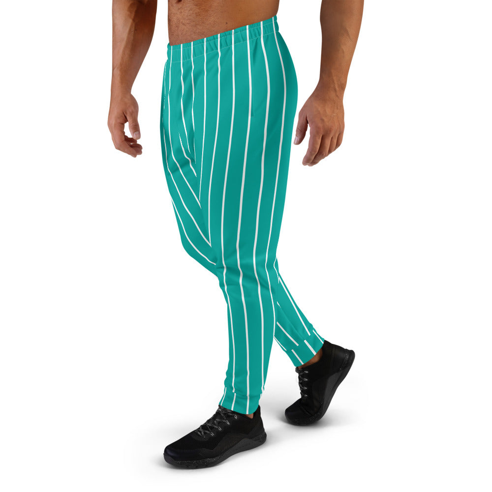 Turquoise And White Striped Joggers for Men