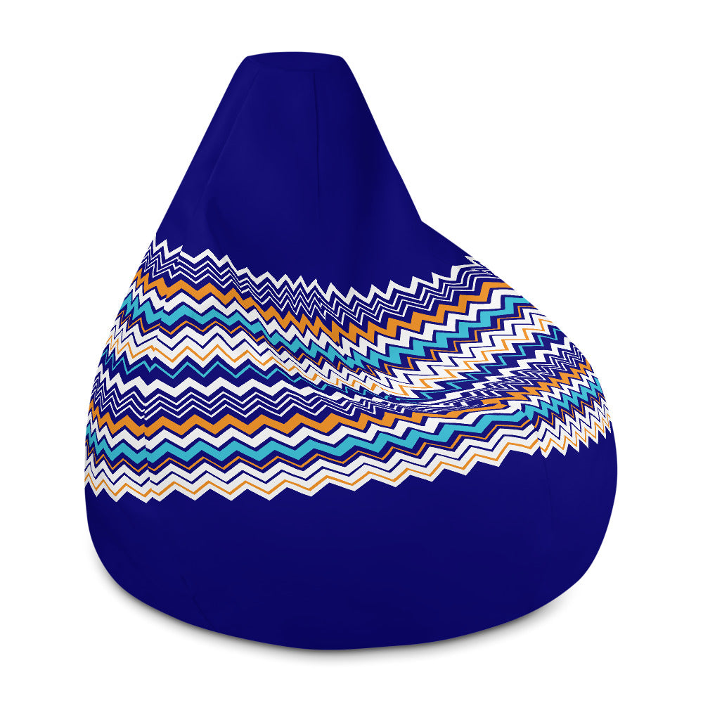 Blue Orange and white Zig zag pattern Bean Bag Chair w/ filling