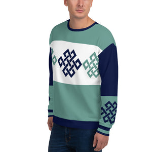 Vintage Geometric Pattern Navy Blue and Mint Sweatshirt for Men
