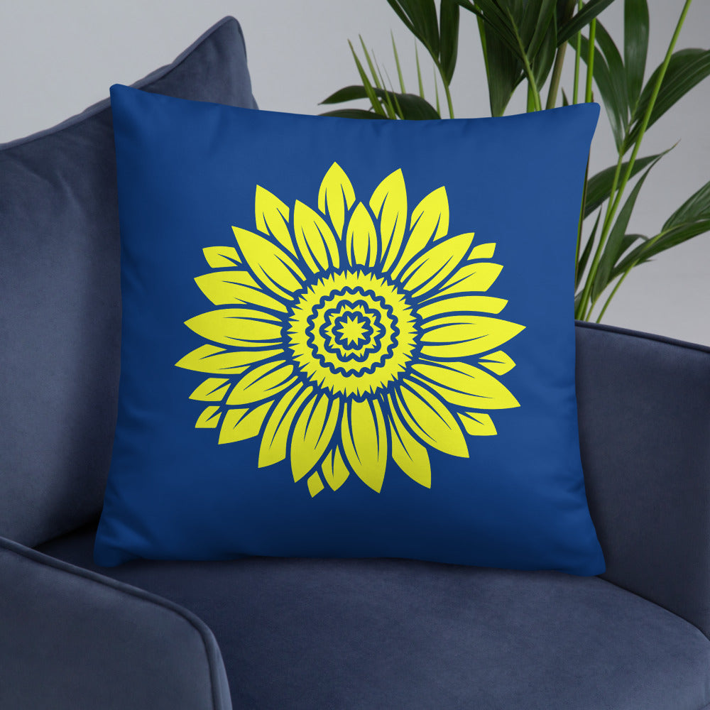 Sunflower Blue Throw Pillows