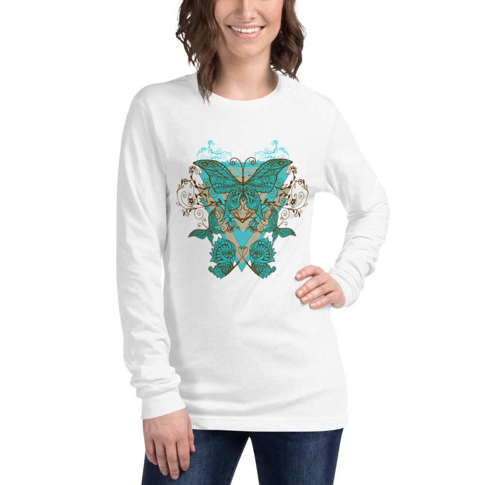 Floral Butterflies Long Sleeve T-Shirt for Women
