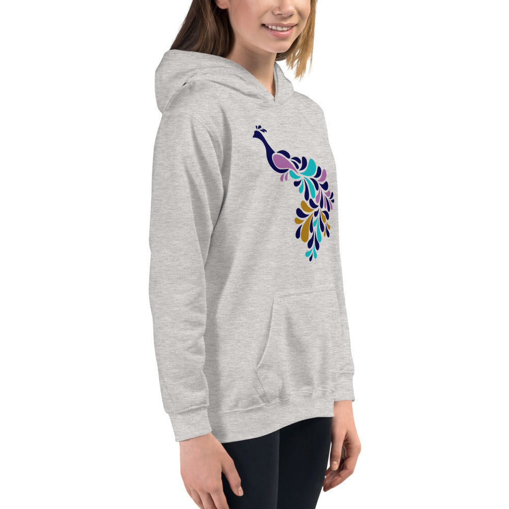 Peacock Grey Hoodies for Girls