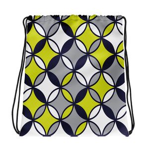 Blue and Green Abstract Pattern Drawstring bag