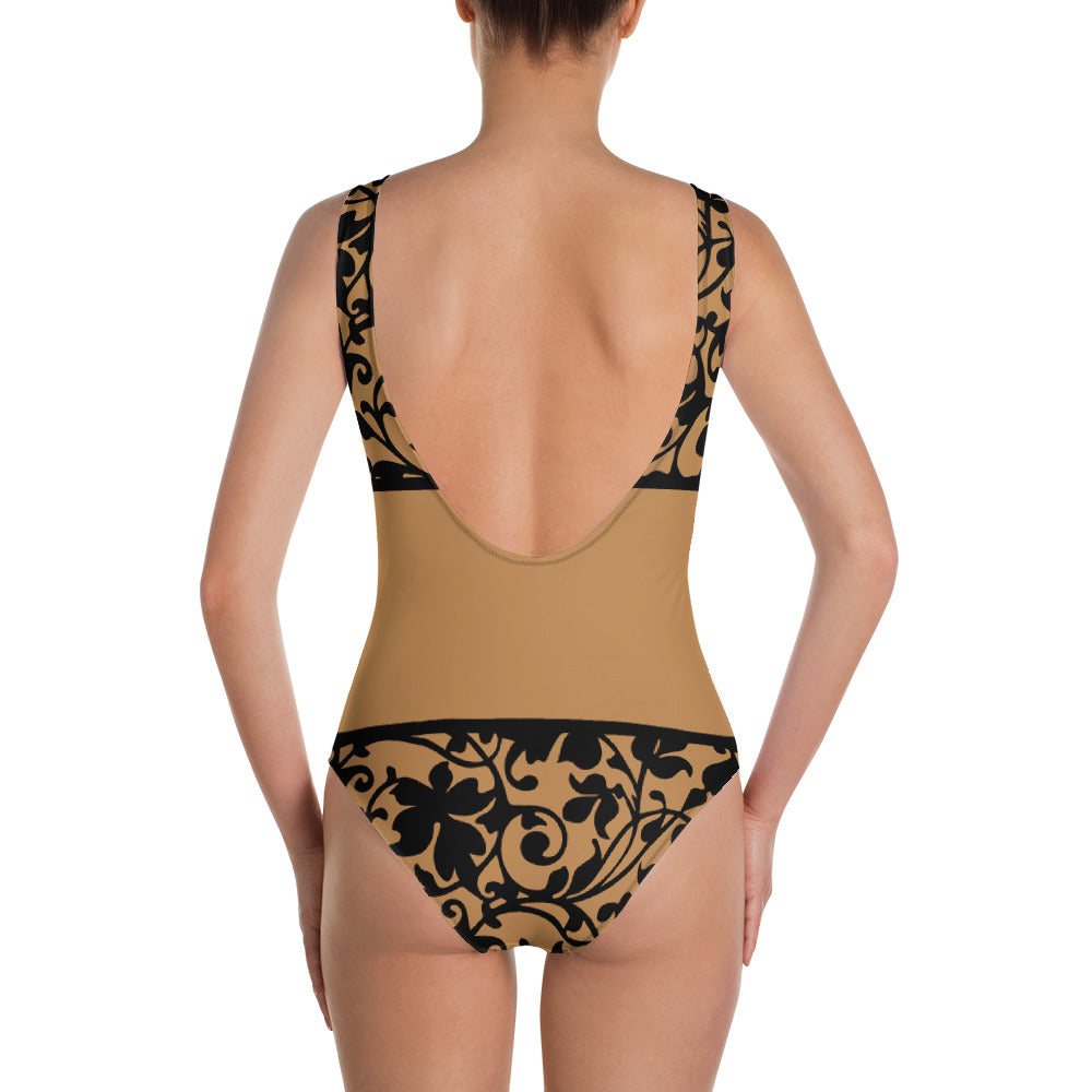 Nude and Black Floral One-Piece Swimsuit