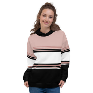 Pink White and Black Hoodie for Women
