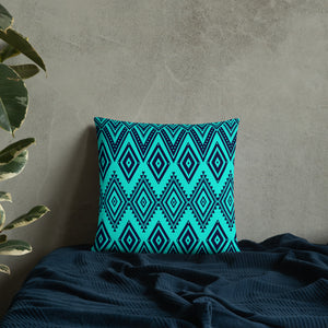 Turquoise And Blue Tribal Seamless Pattern Throw Pillow