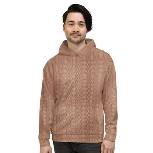 Light Brown Woolen Pattern Unisex Hoodie