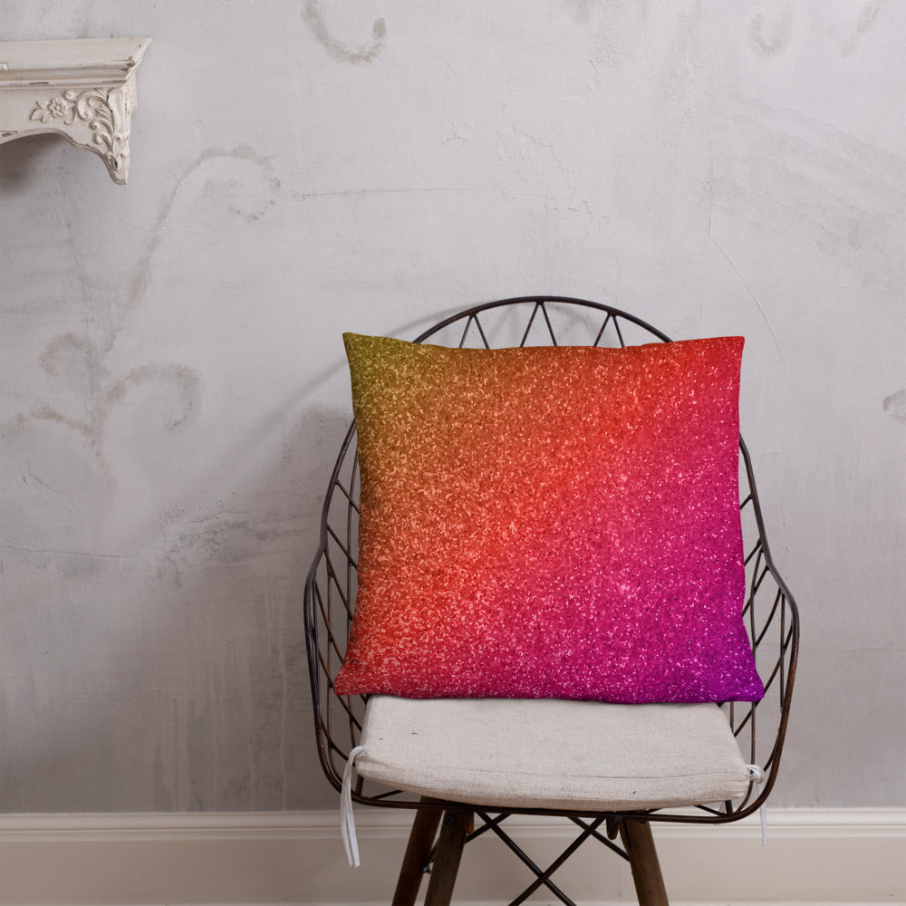 Pink Orange and Gold Glittery Double-sided Throw Pillow
