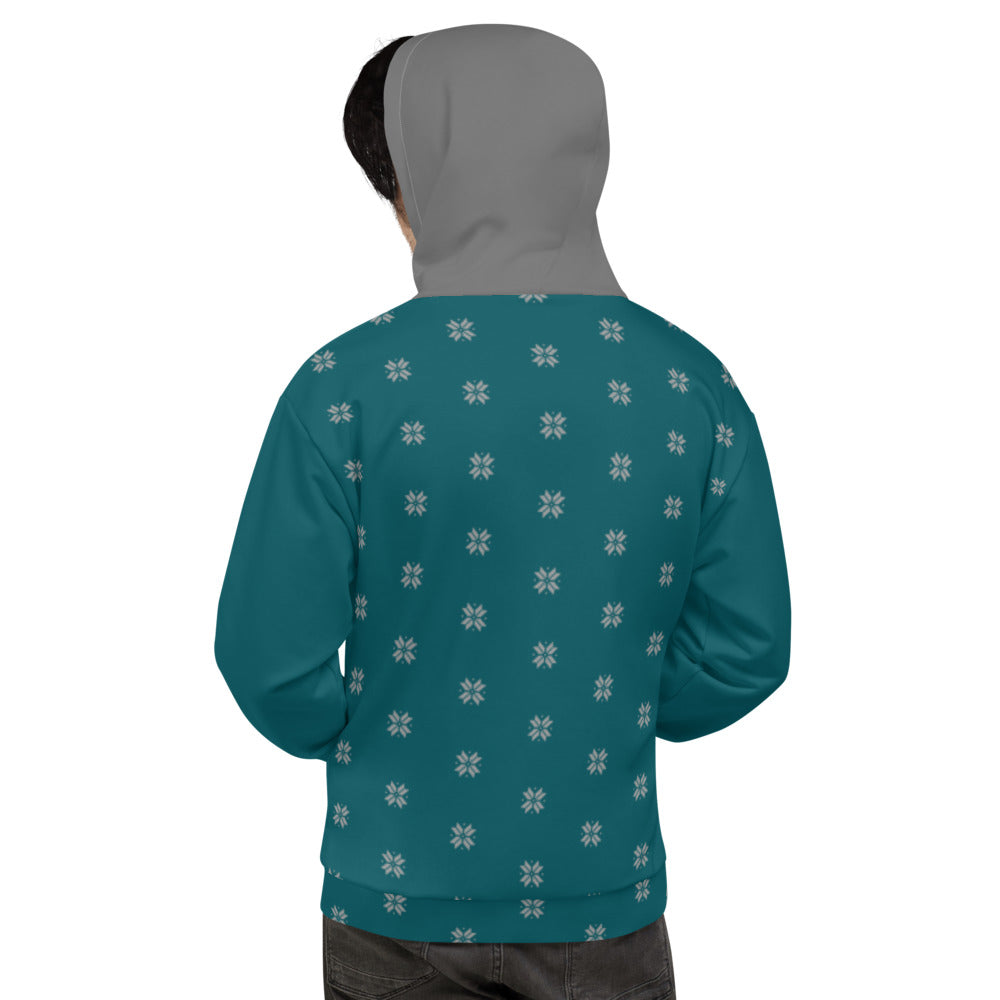 Teal and Gray Snow Flakes Unisex Hoodie