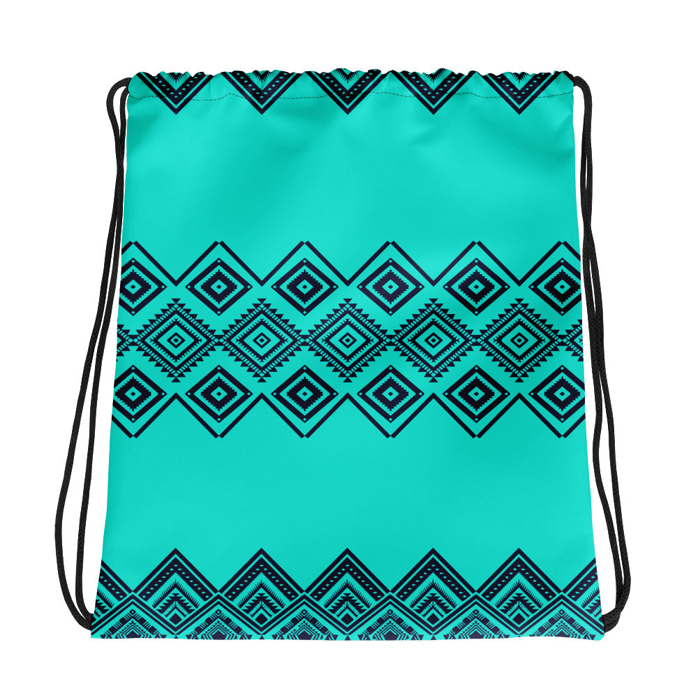 Black and Turquoise Geometric Pattern Drawstring Bag
