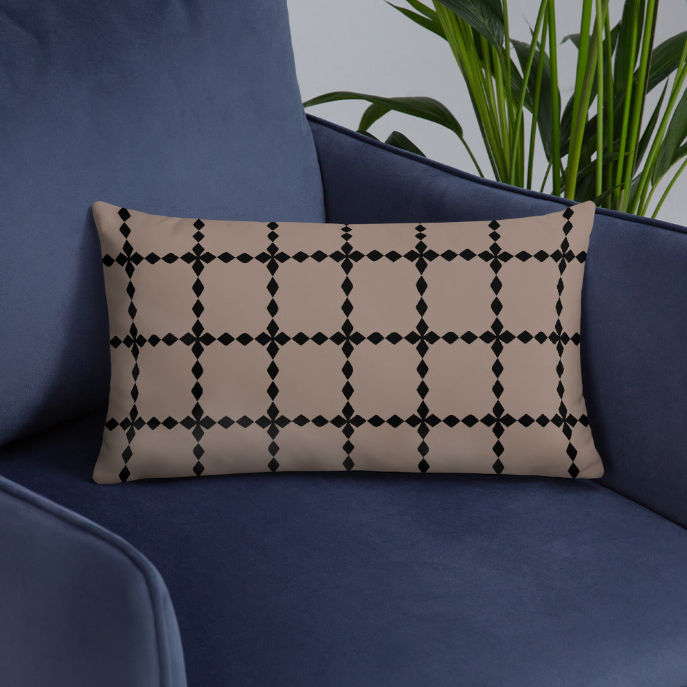 Black and Brown Seamless Pattern Throw Pillow