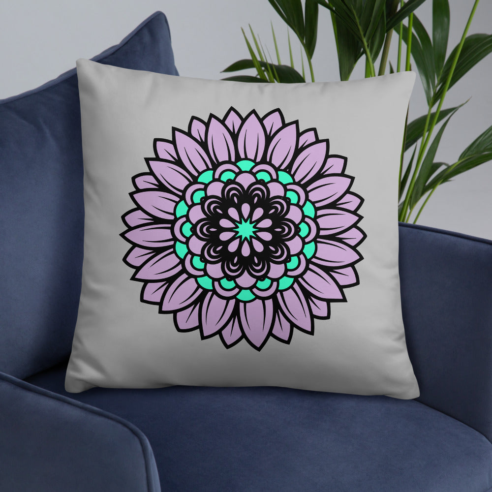 Gray Purple Sunflower Throw Pillow