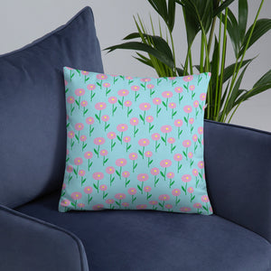 Spring Floral Baby Blue Throw Pillow