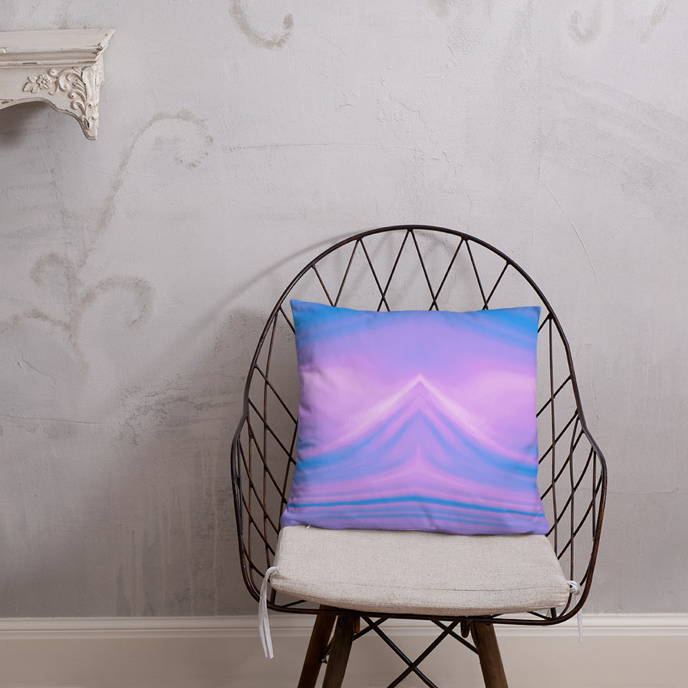 Blue and Purple Liquid Marble Throw Pillow