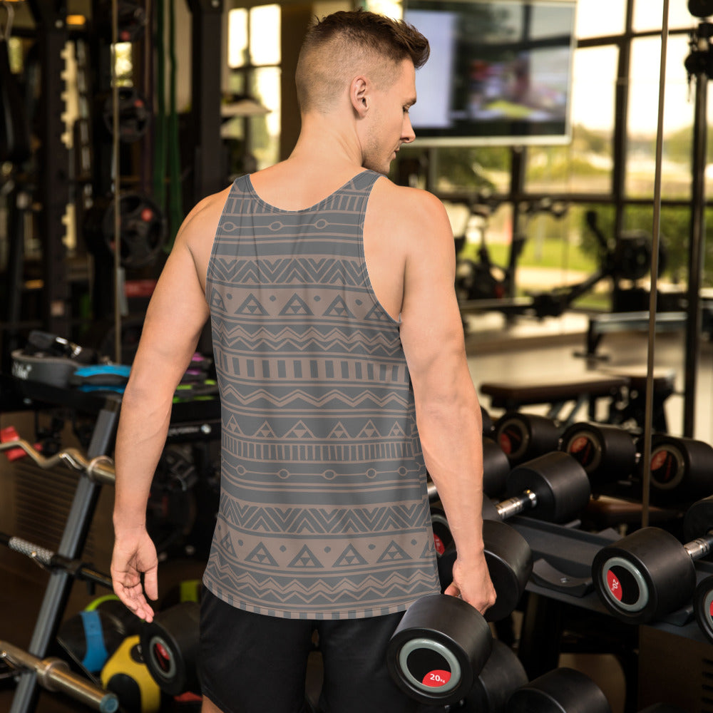 Gray and Nude Tribal Unisex Tank Top