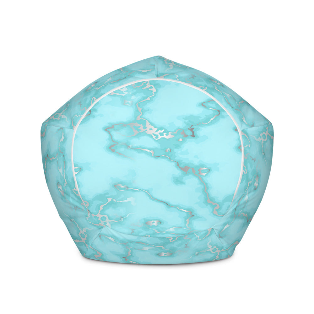 Aqua Blue Marble Bean Bag Chair w/ filling